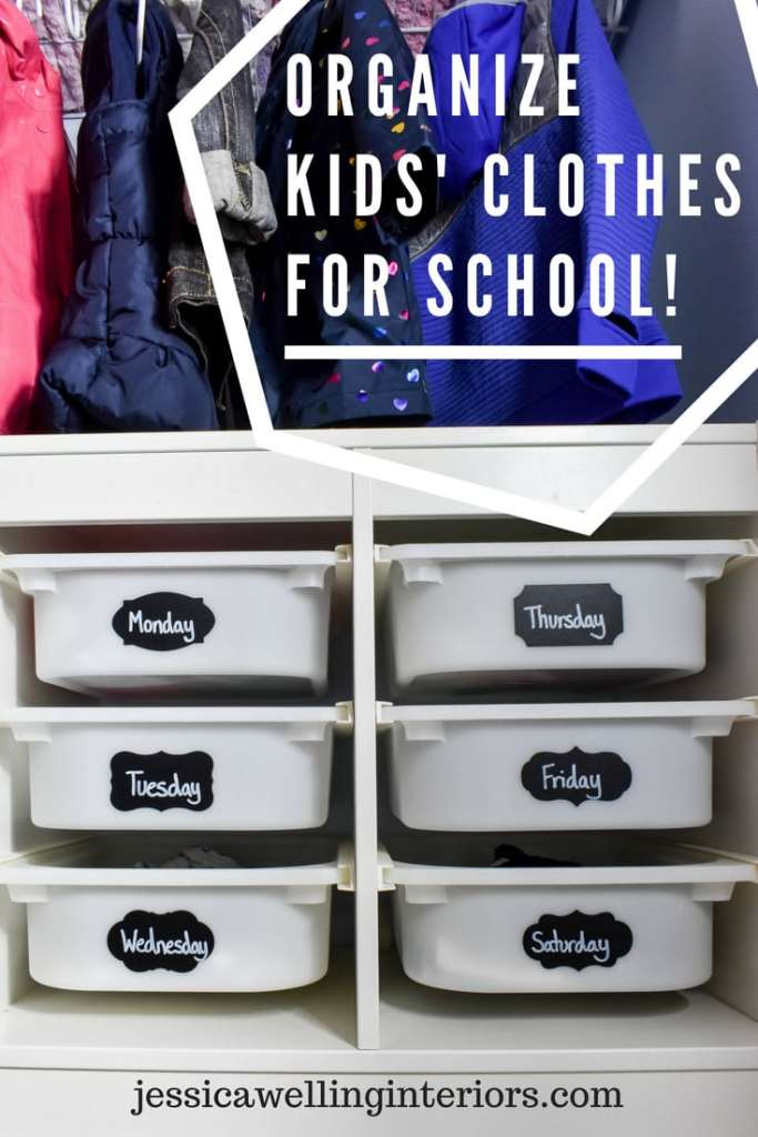 Organized Kids' clothes for school! Image of two IKEA TROFAST drawer storage units stacked and used as a child's dresser inside a closet