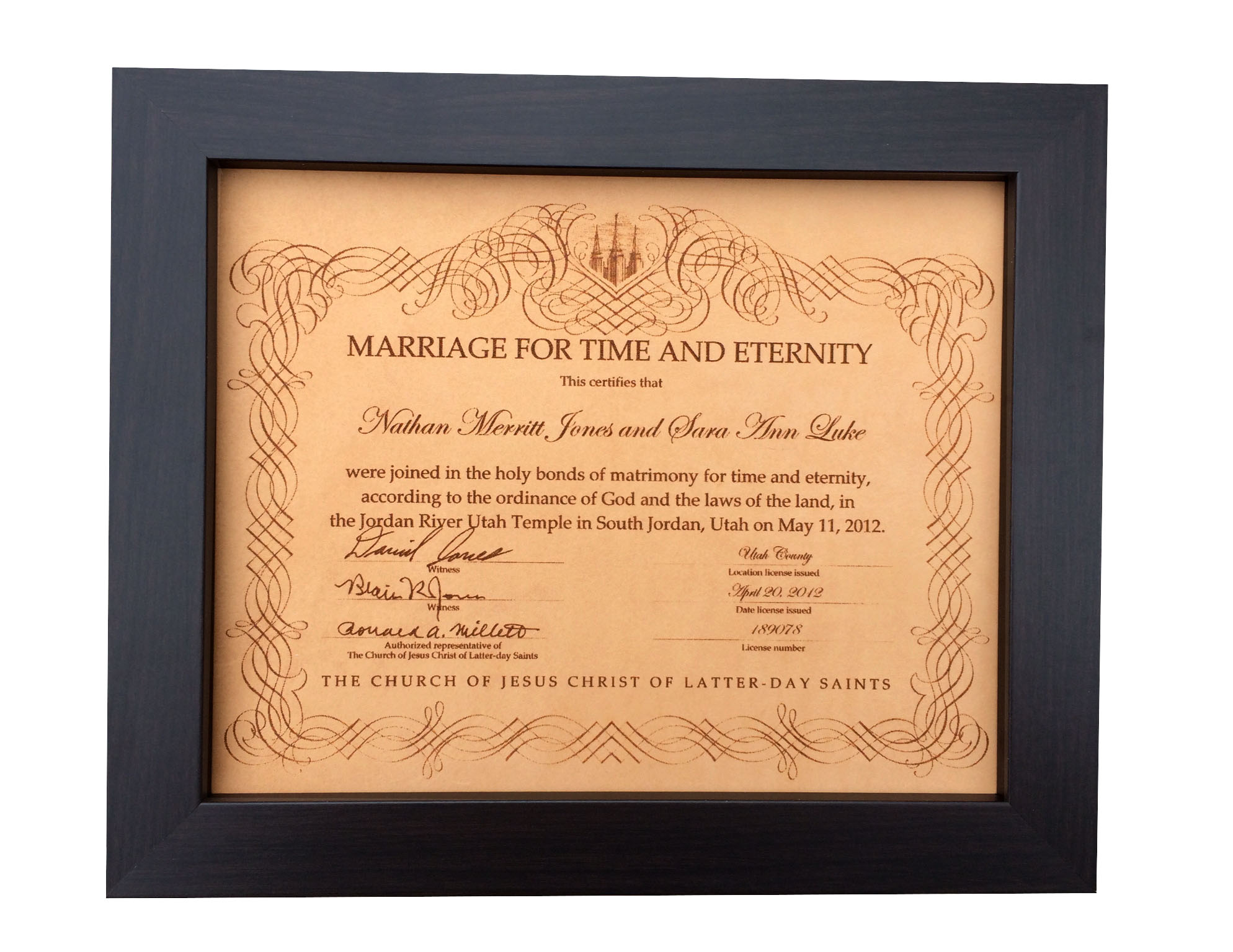 9th Year Wedding Anniversary Gifts: Leather Marriage Certificate Photo Engraving