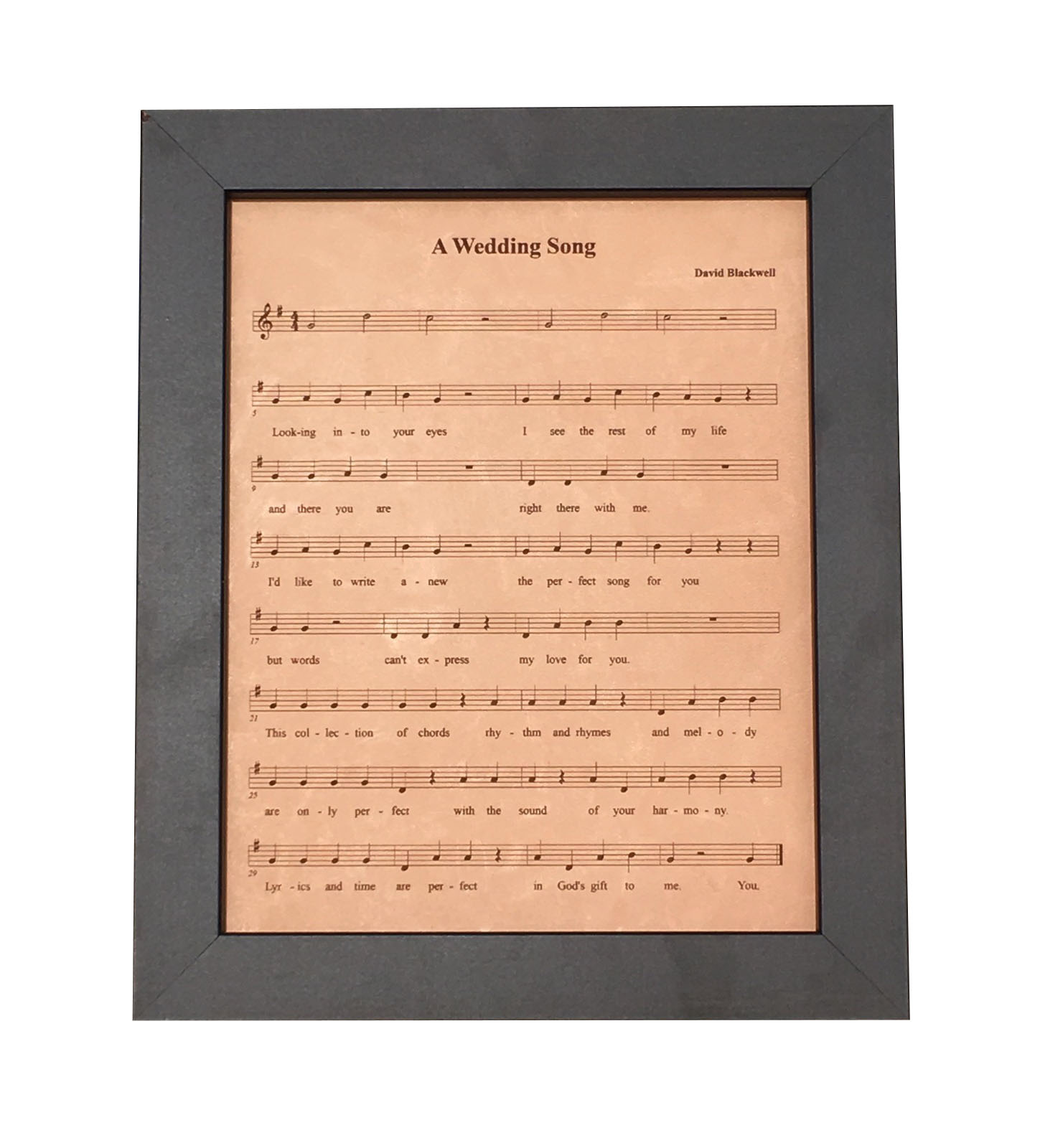 Leather anniversary gift engraved sheet music first dance for First house music song