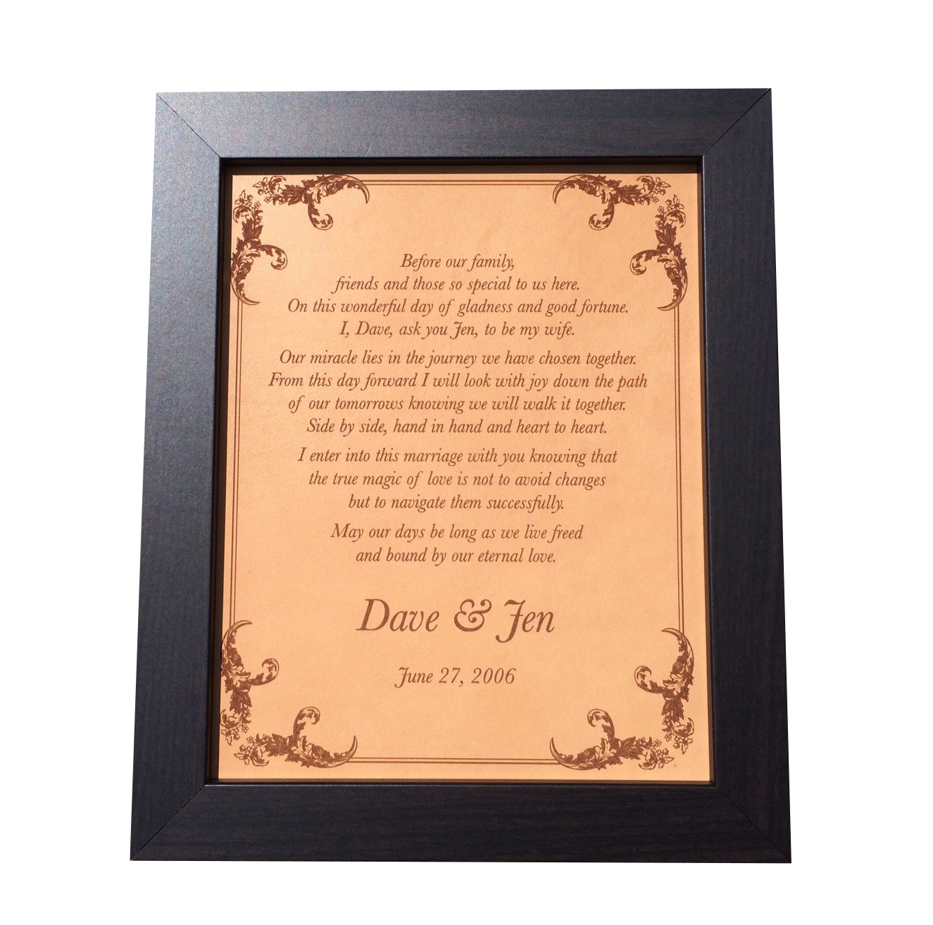 Wedding Vow Art Leather Anniversary Gift