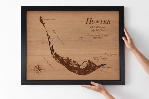 Laser engraved & cut wood lake map, wood lake map art, 5th anniversary