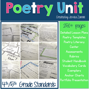 4th:5th Grade Poetry Unit. Over 250 pages of poetry lesson plans, templates, assessments for a successful poetry workshop