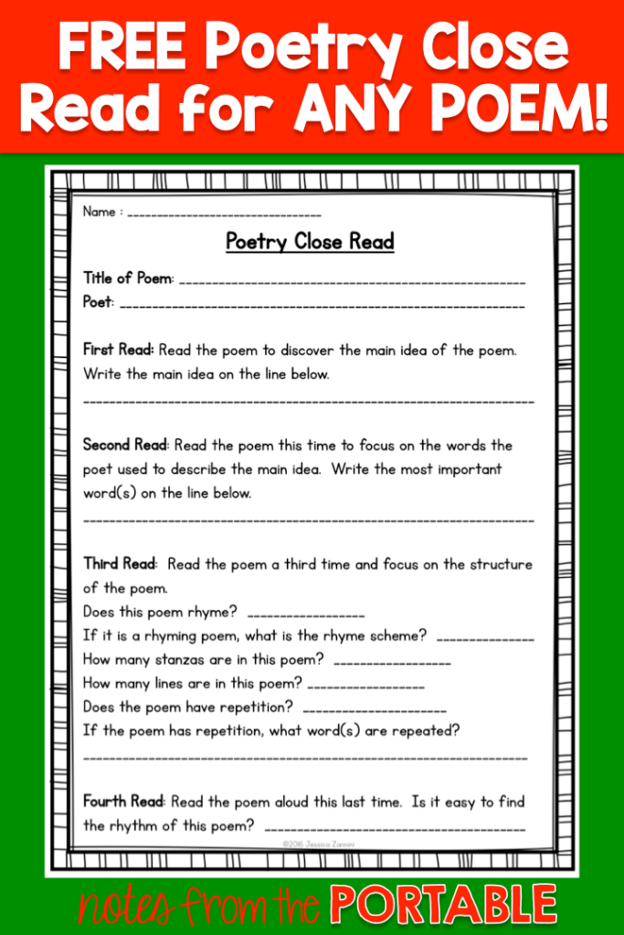 Love this! Teachers that Give FREEBIE - Poetry Close Read for any poem.