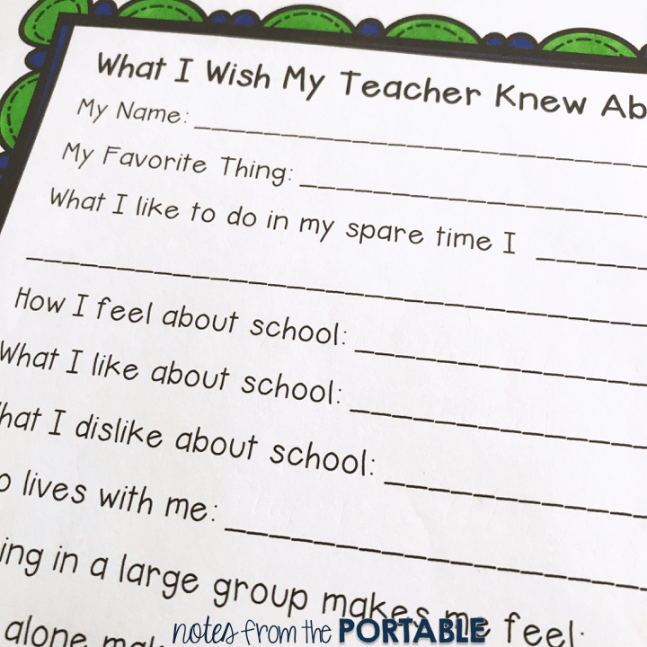 Love this guide to help get to know students at back to school.