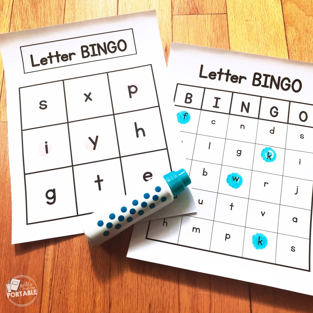 lower case letter recognition Bingo. My preschoolers loved this!