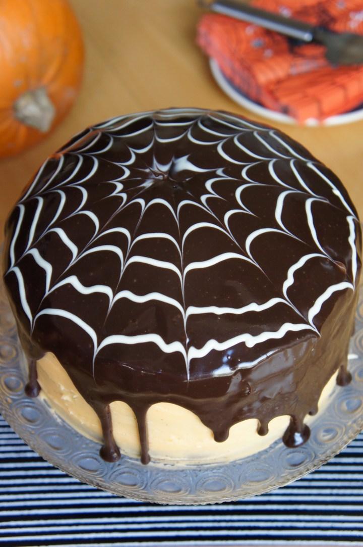 Spiderweb chocolate cake