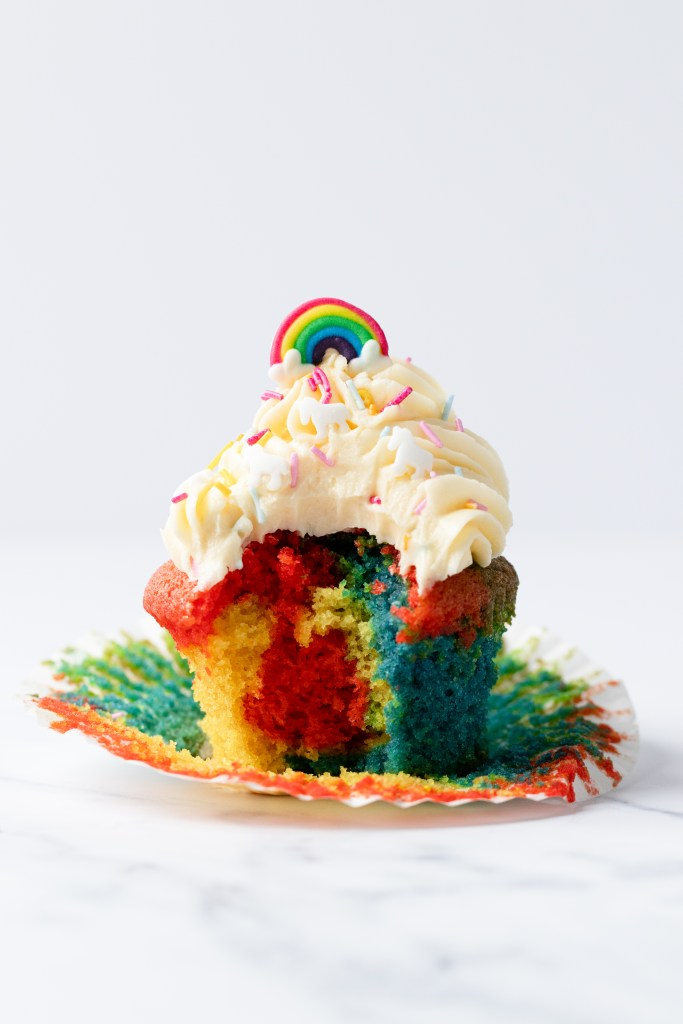 Rainbow cupcakes with white chocolate buttercream