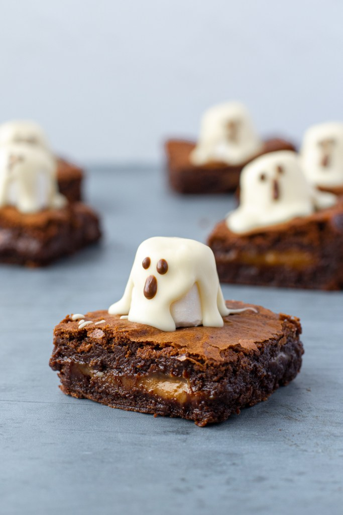 Caramel Stuffed Boo Brownies