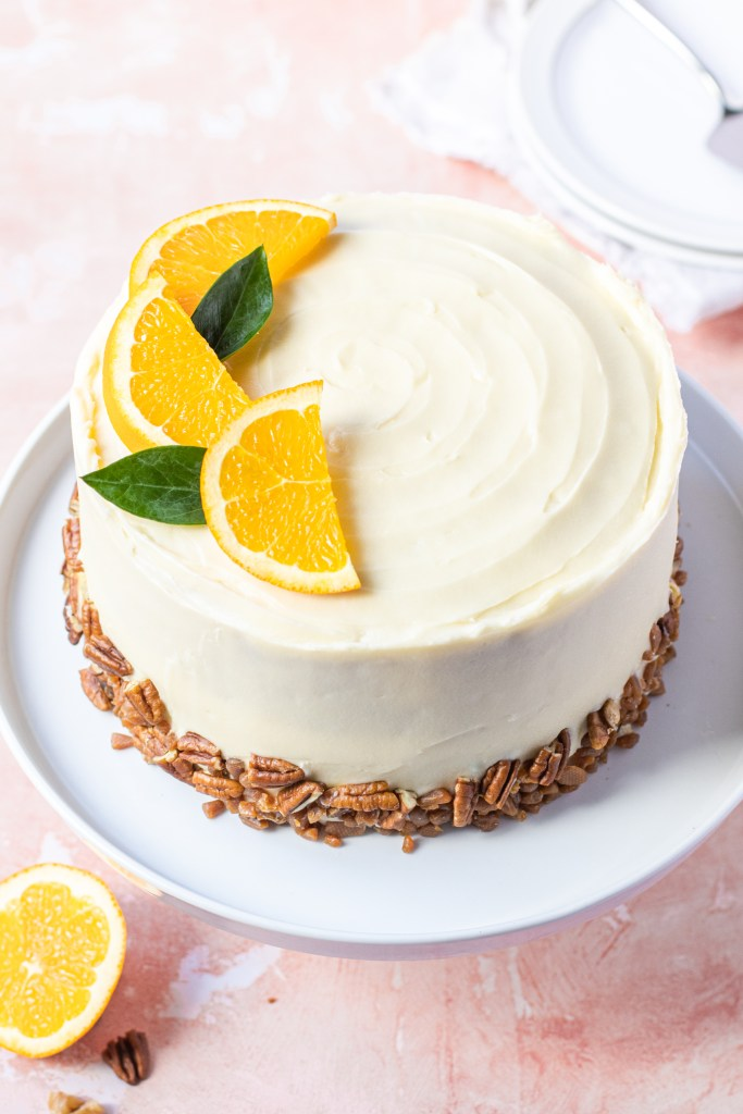 Pecan Orange Drizzle Cake with Cream Cheese Frosting