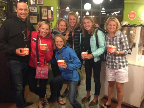 Matt, Kikkan, Liz, Ida, Sadie, Sophie and I after our girls team meeting getting some treats!