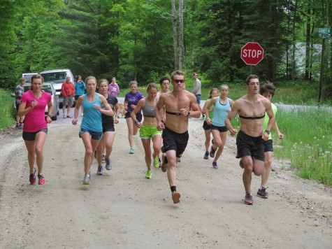 The start of our uphill running TT - a tough workout but more fun to run with others! (photo by Sverre Caldwell)