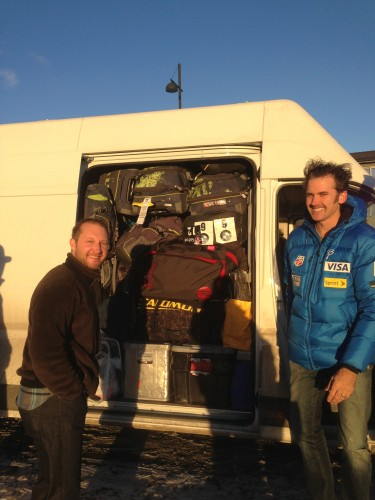 Fish and Randy getting ready to drive our big cargo van full of skis and bags!