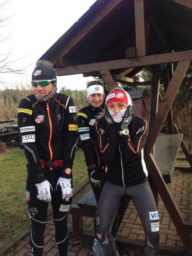 Going on a cold windy run together in Oberhof, Germany last winter