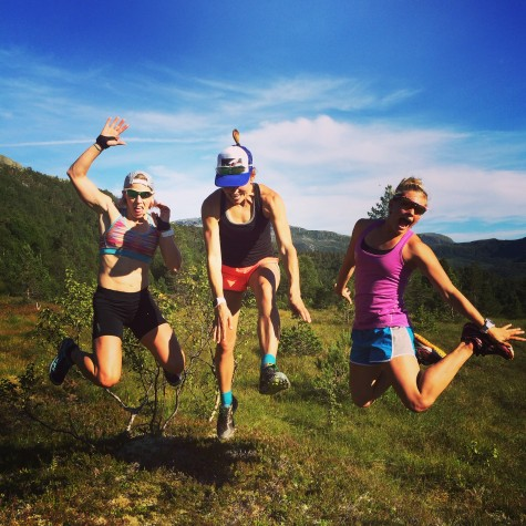 Kikkan, Sophie and I at the halfway point (photo from Soph)
