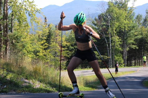 I don't have any good photos from strength, but here Annie P clearly demonstrates the results of putting in some gym time with powerful skiing! (photo by Pat)