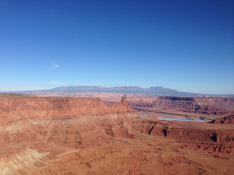 Where the sun hit the East Rim, with the La Sal Mountains in the background.