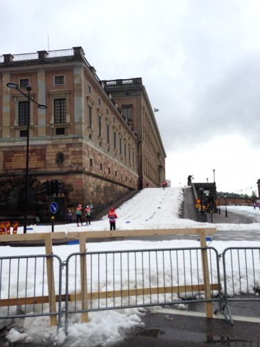 The first uphill of the palace sprint.
