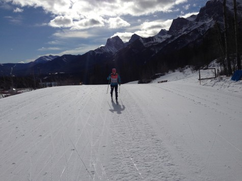 Having a nice ski in Canmore, enjoying the mountains (photo from Cork)