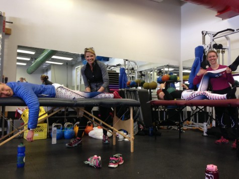 Steph and Ana working so hard to keep our bodies in good shape during the tour! Thanks girls!