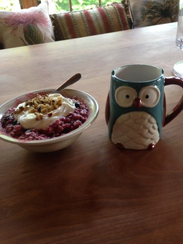 "I like to call this ""owl and oats"". It's my morning wake up call."