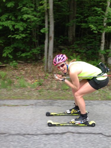 Getting up to speed on a long downhill with Erika!