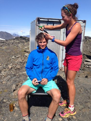 David getting a haircut from Caitlin while waiting for a hell down.