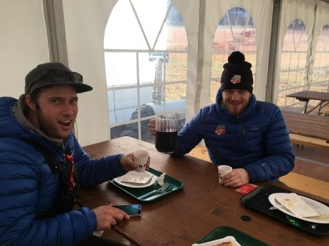 Because it's France, the FIS family tent that serves athletes and staff lunch had wine out on the tables...in large juice pitchers. No shortages there! Andrew and Tim testing it out here.