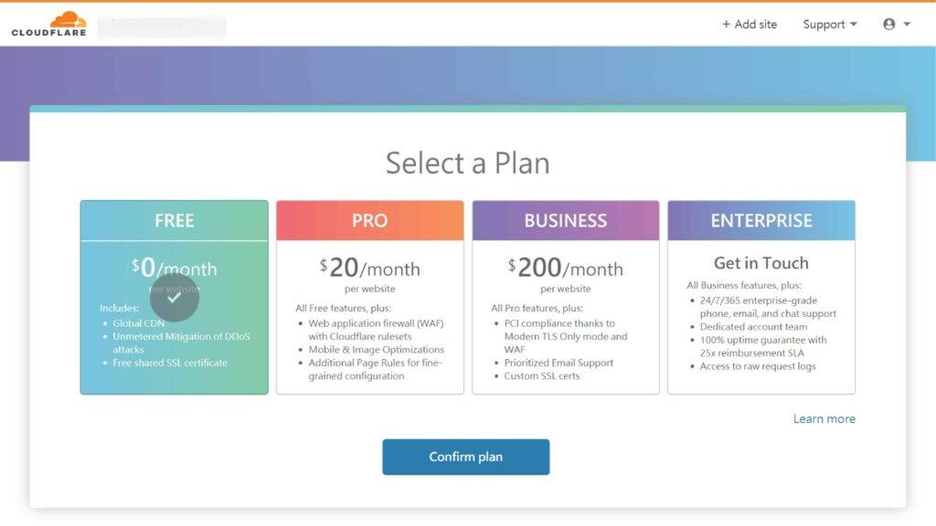 CloudFlare  plan
