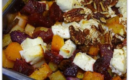 ovenschotel met pompoen rode biet en feta - Ovenschotel met pompoen, rode biet en feta