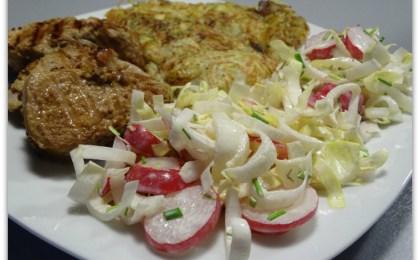 varkenshaasje met rc3b6sti en witloofsalade - Varkenshaasje met rösti en witloofsalade
