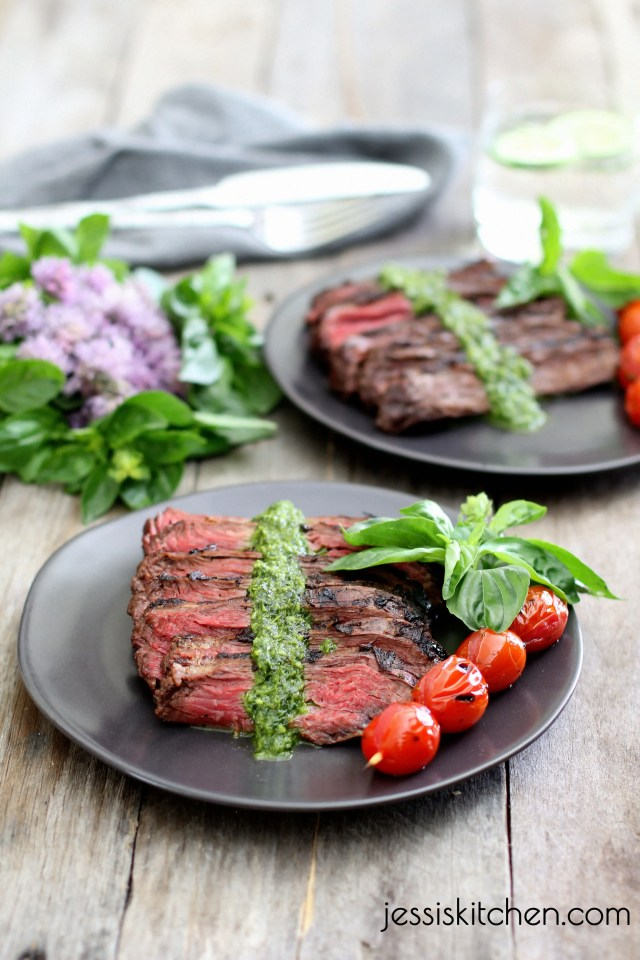 Grilled-Skirt-Steak-with-Cilantro-Pesto-Jessi's Kitchen