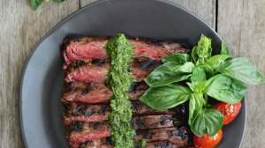 Grilled Skirt Steak with Cilantro Pesto