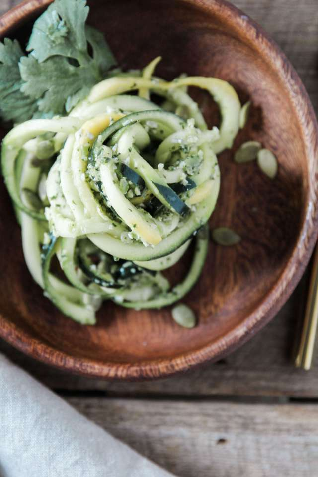 Spiralized Squash Salad with Pepper Pesto: Jessi's Kitchen