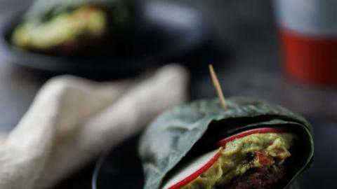 Collard Wrap Guacamole Burgers