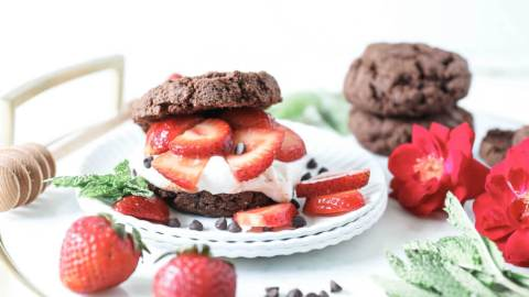 Grain-free, Vegan Chocolate Strawberry Shortcake
