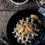 Buckwheat Waffles with Caramelized Peaches