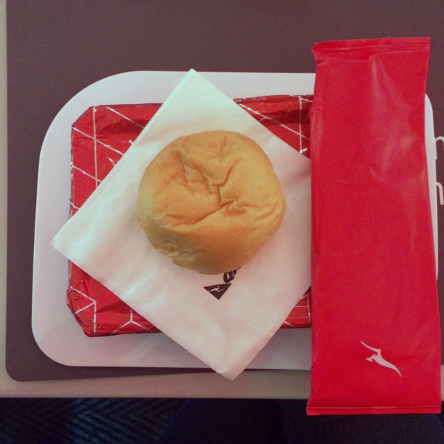 Qantas economy meal with roll