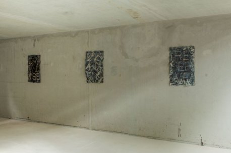 """""""By Cooling Shade (Saprophyte II-VII-X from left to right)."""" Installation view, Hilsbach Kunst Kulture, Hilsbach, Germany. 2017"""
