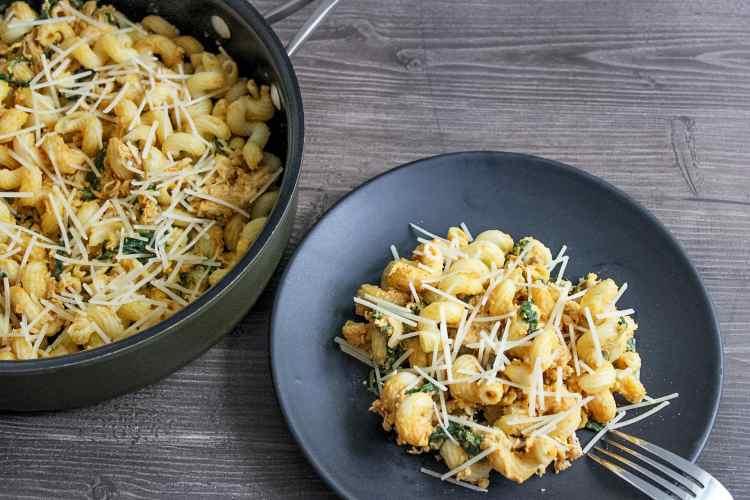 creamy pumpkin pasta with spinach