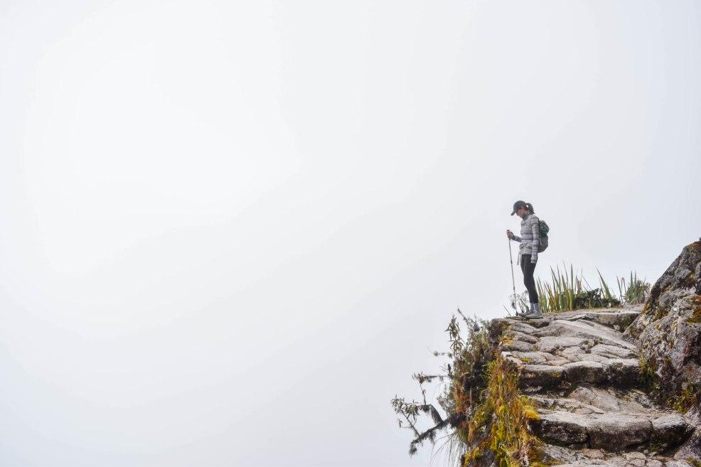 hiking the Inca trail to Machu Picchu through thick fog