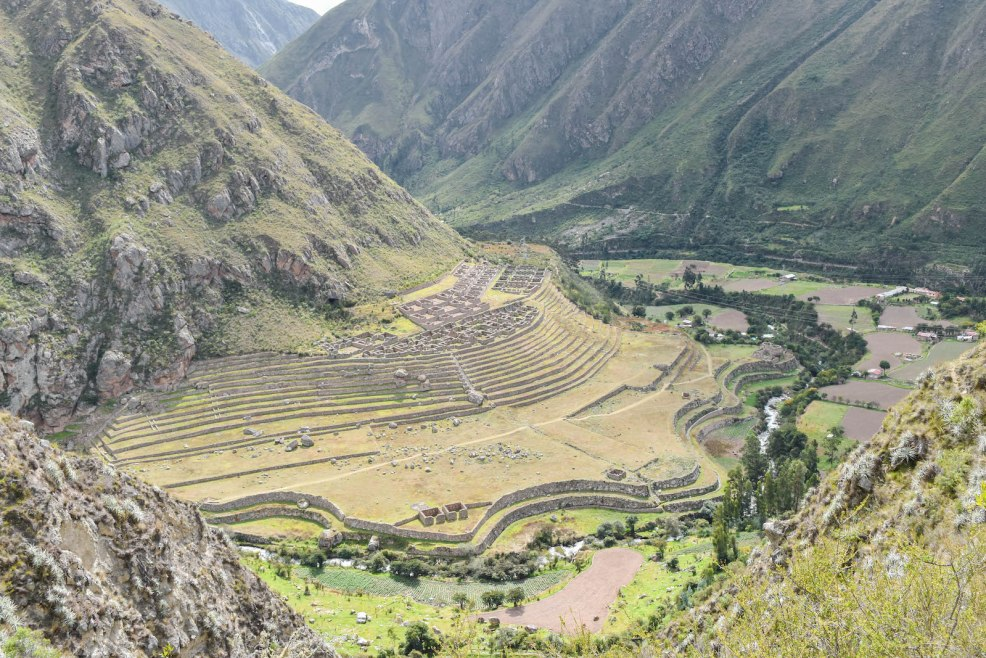 Inca ruin of patallacta seen on the Inca trail to Machu Picchu