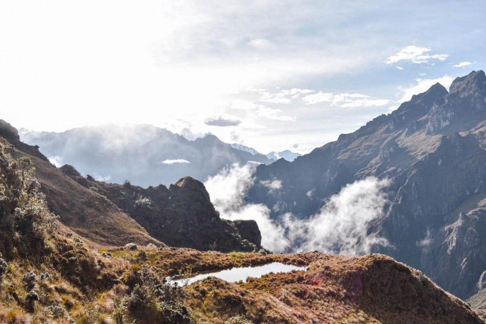 mountain lake seen on the Inca trail to Machu Picchu