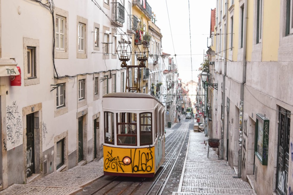 ascensor da bica yellow tram in Lisbon Portugal