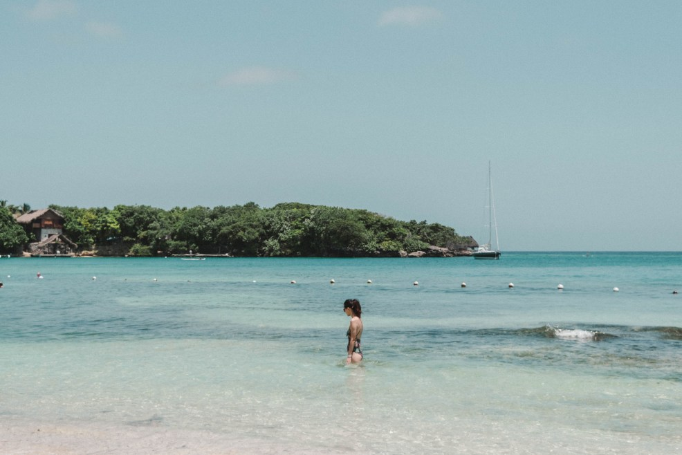 Beach at rosario islands in Cartagena Colombia