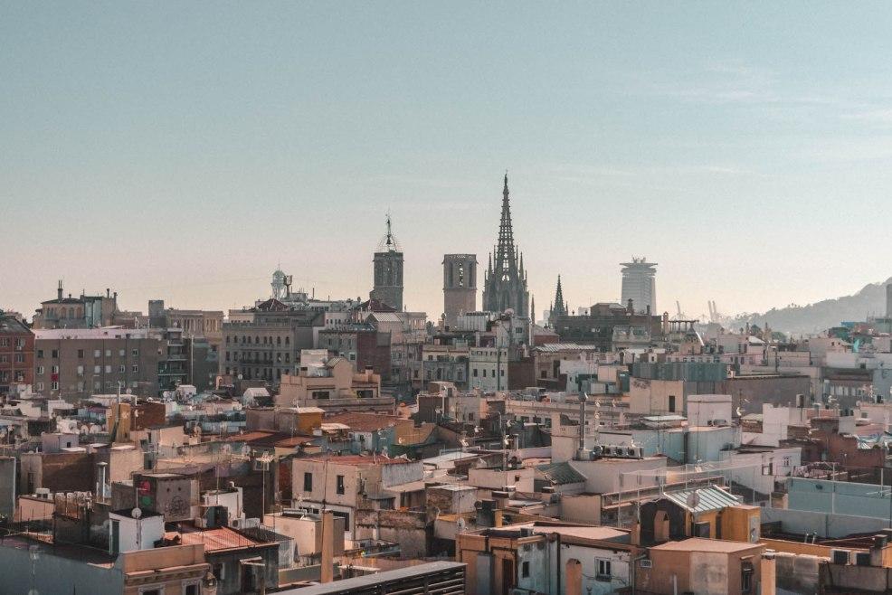 View of Barcelona from Yurbban Trafalgar Hotel rooftop.