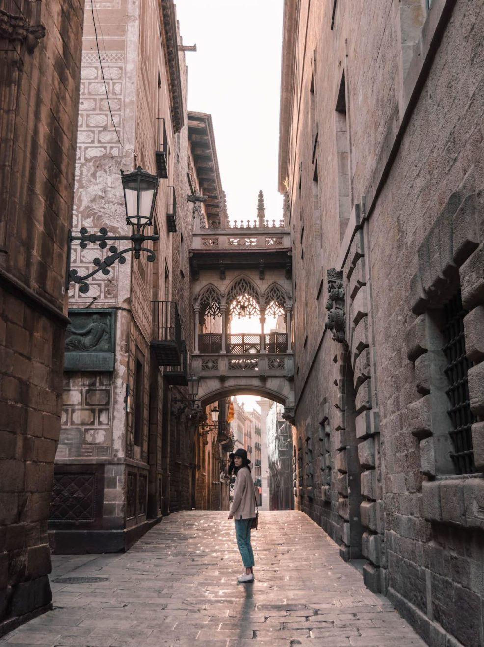 Pont del Bisbe in the Gothic Quarter in Barcelona