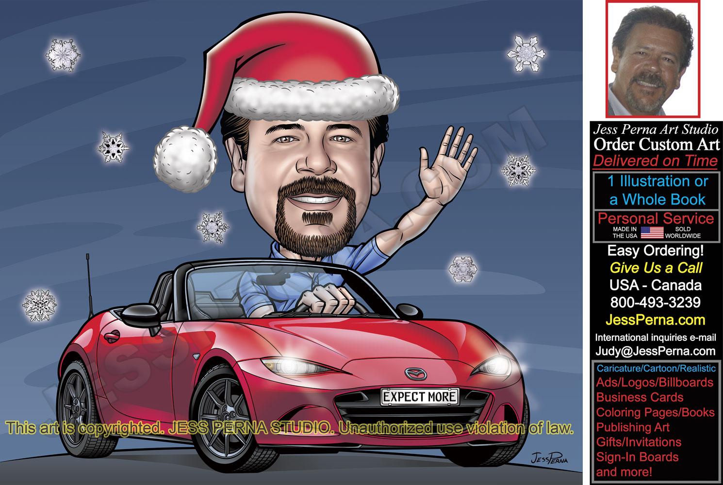 Christmas Cards Custom Made Caricatures And Cartoons