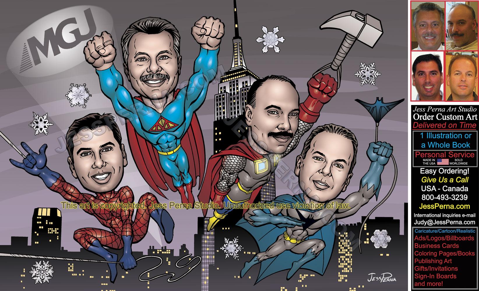 Order Superhero Caricatures Comics Art Cartoons Ads