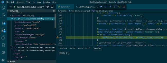 VSCode code stopped at breakpoint, displaying variables