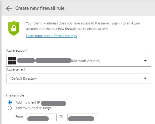 Pane in ADS to configure a firewall rule